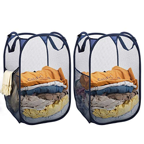 Mesh Popup Laundry Hamper,2pcs Mesh Laundry Basket Collapsible with Side Pocket and Reinforced Handles Solid Bottom and Sturdy Fold to Storage and Easy to Open Perfect for Dorm Bedroom or Travel