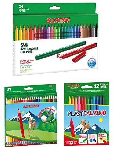 Alpino escolar pack: 24 lápices de colores borrables + 24 rotuladores + estuche con 12 ceras
