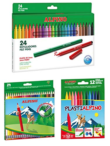 Alpino escolar pack: 24 lápices de colores borrables + 24 rotuladores + estuche con 12 ceras