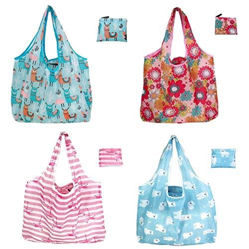 Qiajie 4 bolsas de la compra plegables reutilizables, lavables y portátiles, reutilizables, bolsas de viaje para el hogar, al aire libre, compras