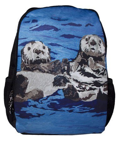 Animal Backpack Bookbag School - Support Wildlife Conservation, Read How, From My Original Paintings (Sea Otter - Best Friends)