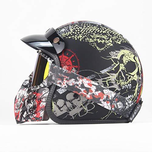 LWAJ Casco Moto Jet Adulto, Dot Homologado, Casco Moto Abierto Custom Scooter para Mujer Hombre Adultos Vintage Ciclomotor Motocicleta Urbano Helmet
