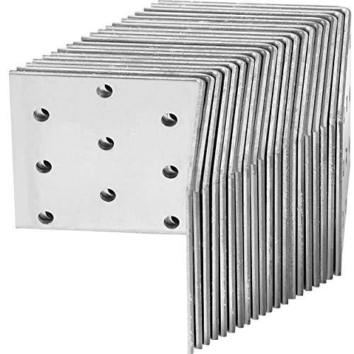 Winkelverbinder 60 mm x 60 mm x 60 mm Verzinkt 20 Stück | Witterungsbeständiger Winkel aus Stahl