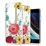 wonfurd Carcasa para iPhone SE 2020/7/8, diseño de flores, carcasa de cristal de gel, fina, hecha a mano, carcasa protectora para iPhone SE 2020/7/8-17