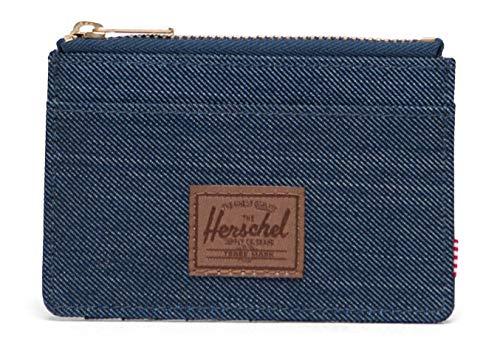 Herschel Oscar RFID Wallet Indigo Denim Crosshatch/Saddle Brown