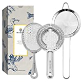 Homestia Cocktail Strainer Set Stainless Steel Bar Tool Bar Accessories for Drinks and Decor includes Hawthorne Strainer, Julep Strainer, Fine Mesh Strainer(Silver)