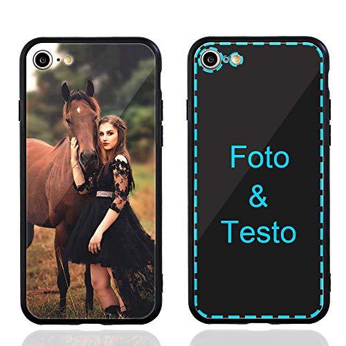MXCUSTOM Cover Personalizzata per Apple iPhone SE 2020/7 / 8, Custodia Personalizzate AntiGraffio Vetro Temperato Antiurto Paraurti Morbido con Foto Immagine Testo Design Crea Le tue (GHS-BK-P1)