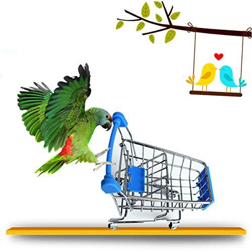 MQFORU Vogelspielzeug für Papageien, Mini-Einkaufswagen, Supermarkt, Bollerwagen, Training für mittelgroße kleine Nymphensittiche