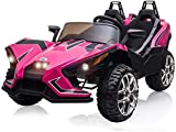 BABLE 2 Seats Kids Electric Car 12V Ride On Car Truck with Remote Control, Kids Car Ride on Toy Motorized Vehicles with Spring Suspension USB/MP3 Music Player Bluetooth FM Radio and LED Lights - Pink