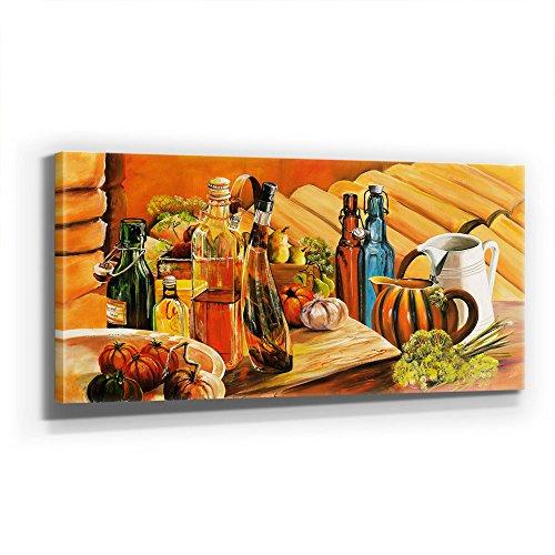 ÖL, Essig, Wein - KÜCHE - WANDBILD STILLEBEN - Kunst - XXL 110x50cm, Leinwand auf Holzrahmen aufgespannt, UV-stabil und wasserfest, XXL Deko Bild abstrakt FineArtPrint Wandbild