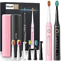 Fairywill 2 Elektrische Tandenborstel met 10 Opzetborstels 5 Reinigingsmodi, 2 Handvatten 2 Reisetui, Oplaadbare 4 Uur...