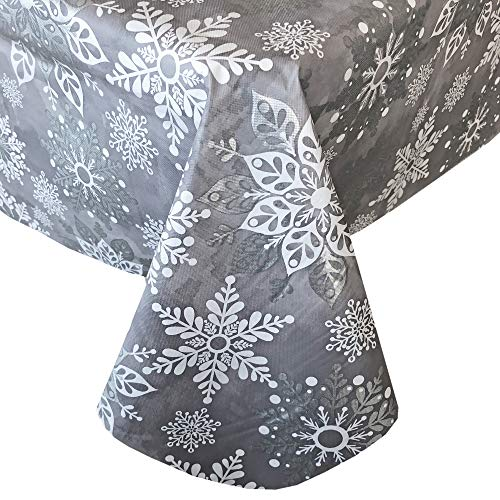 Newbridge Winter Sparkle Snowflake Grey and Silver Vinyl Flannel Backed Christmas Tablecloth - Grey Glitter Snowflake Print Wipe Clean Easy Care Holiday Tablecloth, 52' x 52' Square, Grey/Silver