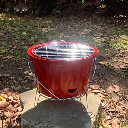 51lSpBRQt9L. SL500  - Grills Kochplatten Barbecue verdickte Garten Holzkohle-Rack Runde Barrel Herd Aussen tragbare Mini- Grillzubehör (Color : Red)