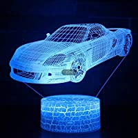 3Dナイトライト 車 リモコン 寝かしつけランプ 7色変更 調光機能 男の子 女の子 クリスマス 誕生日プレゼント