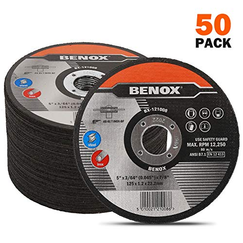 BENOX 50-Pcs Pack 5 In Cut-Off Wheel 5 x 0.045 (3/64) x 7/8 In Metal Cutting Disc BX-121008