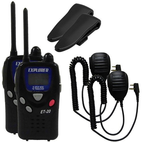 ET-20 ET20 特定小電力トランシーバー 2台 オプション付き EPS-11E 2個 (防水型スピーカーマイク) 免許不要!【UBZ-LP20と通話可能】