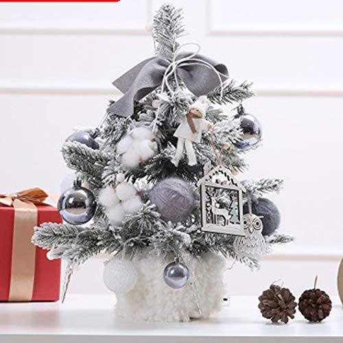 IPRE 17.7' Tabletop Mini Christmas Tree Battery Operated with String Lights, Star Treetop & Ornaments for Holiday Season Decorations Christmas DIY Gray