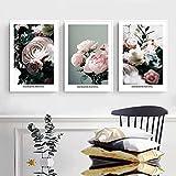 Flor rosa fresca Rosa Arte de la pared Pintura en lienzo Carteles nórdicos e impresiones Imágenes de pared para la sala de estar Decoración del dormitorio 50x70cmx3 Sin marco