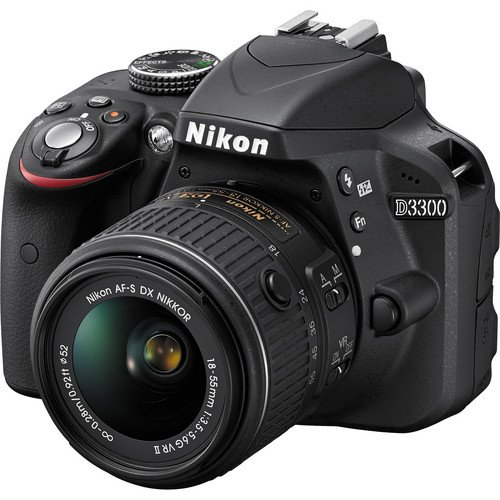 Nikon D3300 24.78MP DSLR Camera with 2x Optical Zoom with 16GB Memory Card and Carrying Case (Black)