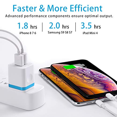 LUOSIKE Wall Charger, USB Charger Plug 3-Pack 2.1A Dual Port USB Power Adapter Charging Block Cube Compatible with Phone Xs/Xs Max/XR/X/8/7/6S/6 Plus, Samsung, LG, Moto, Kindle, Android and More