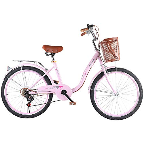 YFAH ​​Women's Beach Patrol Car Beach Cruiser Comfortable Commuter Bike High-Carbon Steel Frame Front Basket and Bell Rear Luggage Rack,Pink+a,20 inch