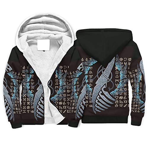 Unisex Men's Women's Sherpa Lining Hooded Pullover Jacket Sweatshirt Viking Dragon Symbols Leisure Hooded Tops Sweat Jacket with Hood White L