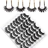 Yawamica False Eyelashes 16 Pairs 3D Fluffy 20mm Long Wispy Mink Eyelashes 4 Styles Thick Dramatic Faux Mink Lashes Soft Reusable Fake Eyelashes