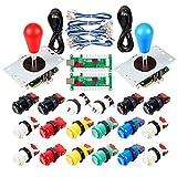 Avisiri 2 Player Arcade Joystick DIY Parts 2x USB Encoder + 2x Elliptical Joystick Hanlde + 18x American Style Arcade...