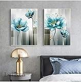 Pintura abstracta de la lona de la flor azul moderno azul bebé cuadro del arte de la pared impresión en oro para la sala