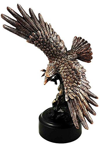 Gifts & Decor Wings of Glory Swooping Bald Eagle Bronze Electroplated Figurine with Base Resin Statue