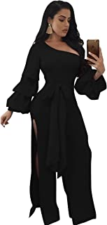 Speedle Womens One Shoulder Long Sleeves Double Layers Lace up Split Jumpsuit Romper