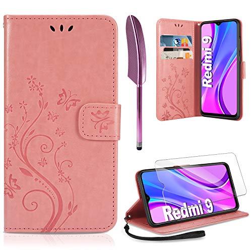 AROYI Lederhülle Xiaomi Redmi 9 Hülle + HD Schutzfolie, Xiaomi Redmi 9 Flip Wallet Handyhülle PU Leder Tasche Case Kartensteckplätzen Schutzhülle für Xiaomi Redmi 9 Rosa