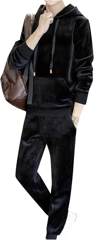 Comfy Men's Velour Pure color Hooded 2 Pieces Sport Sweat Suit Set