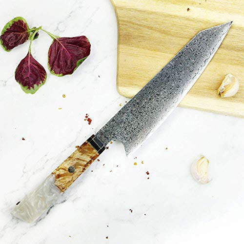 Damascus 67 White Sapphire Resin Professional 8 Inch Chef Kitchen Knife 67 Layers of Damascus Steel & Sheath Included