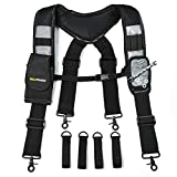 MELOTOUGH Magnetic Suspenders Tool Belt Suspenders with Large Moveable Phone Holder , Pencil Holder , Adjustable Size Padded Suspenders (Grey) …