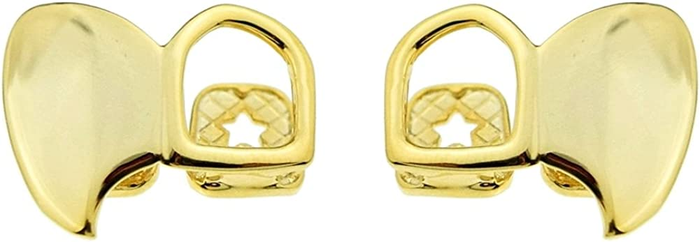 Fang Grillz 14k Gold Plated Canine Double Tooth Top Right & Left Fangs Open Face Teeth Vampire Set