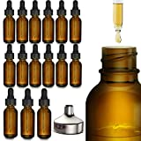 15 Pack Essential Oil Bottles - Round Boston Empty Refillable Amber Bottle with Glass Dropper [ Free Stainless Steel Funnel ] for Liquid Aromatherapy Fragrance Lot - (1 oz) 30ml