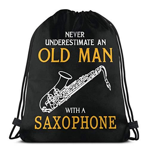 Almost-Okay-Shop Unterschätzen Sie Niemals Alten Mann mit Saxophon-Kordelzug Rucksack Rucksack Umhängetaschen Gym Bag