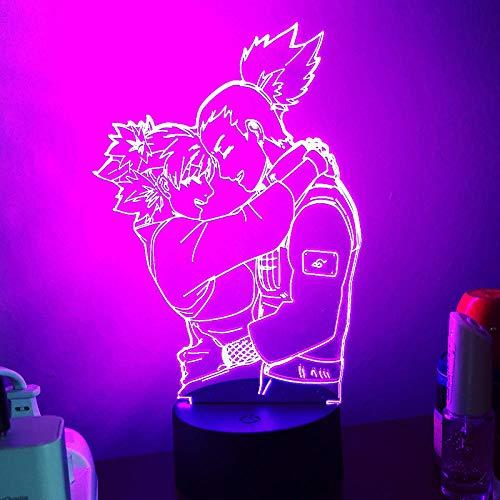 Lámpara de escritorio de mesa de ilusión óptica 3D Anime NarutoUSB lámpara de mesa multicolor para dormir regalo innovador decoración del hogar-16 color remote control