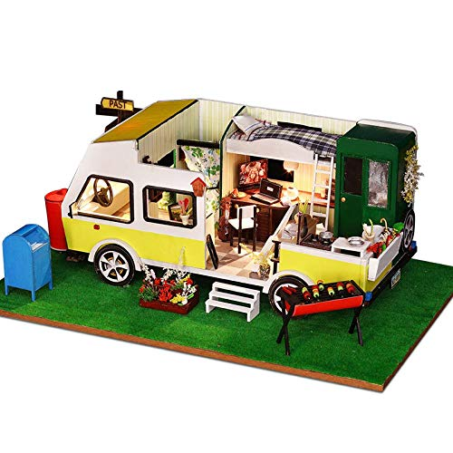 Yunji DIY Dollhouse Miniature Furniture Kit, Touring Car Miniatures Doll House Toys Children Handmade Birthday Handcraft Gift Children Diy 3d Caravan Dollhouses