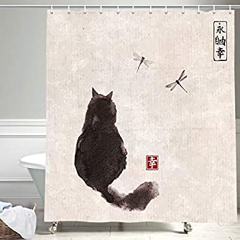NYMB Asian Style Traditional Japanese Ink Painting Shower Curtain Black Fluffy Cat Watching Over Dragonflies on Vintage Fabric Shower Curtain for Bathroom Japan Bath Curtain  69X70in