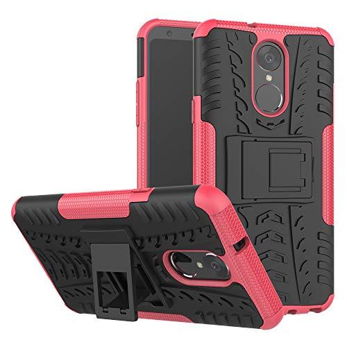 TiHen Handyhülle für LG stylo4/LG Q Stylus Hülle, 360 Grad Ganzkörper Schutzhülle + Panzerglas Schutzfolie 2 Stück Stoßfest zhülle Handys Tasche Bumper Hülle Cover Skin mit Ständer -Rose