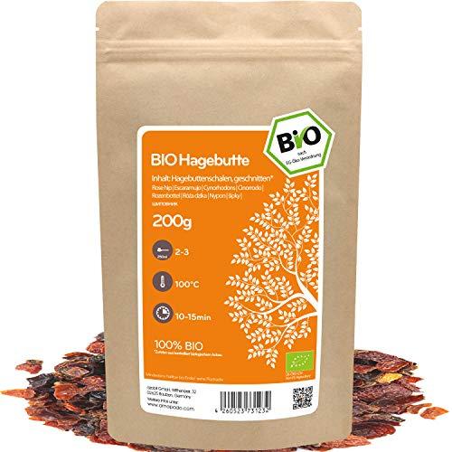 amapodo Bio Hagebuttentee lose 200g Hagebuttenschalen geschnitten für Hagebutte Tee