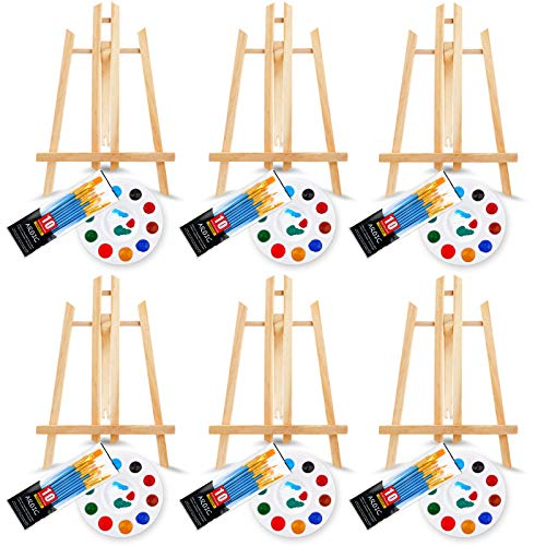 72 PCS Professional Painting Set with Easels, 6 PCS Wood Easels,6 Packs of 60 Brushes with Nylon Brush Head and 6 pcs Palettes, Painting Supplies kit for Kids & Adults to Painting Party.
