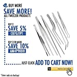 2 Pcs Straight and Curved Tip Tweezers 12 Inch, Stainless Steel Precision Tweezers Set with Serrated Tips Comfortable… 14 MULTIPURPOSE TWEEZERS – Our stainless steel tweezer comes in a set of 2, straight and curved tweezers, with different shapes eases your life, as cooking tweezer and especially for water plant decorations. Our craft tweezers with delicate clip end will not harm your small or thin water plants. SUPER SECURE - Our straight and curved tweezers have serrated tips to help grip stuff securely without ever slipping off. The ridged handle also provides secure, comfortable grips on your fingers. Our pointed tweezers is strong and not easily bent! PREMIUM STAINLESS STEEL - Imagine. A Heavy duty forceps, long-lasting stainless steel tweezer that could withstand extreme heat, as well as rust and corrosion-free. Our cooking tweezers is dishwasher safe! Use it as needle nose tweezers, electrical repairing, cooking, serving, crafting, and many more.
