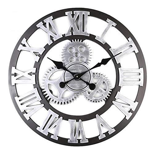 WYYH Reloj Decorativo De Exterior, Equipo Retro Cuarzo Silencioso Sin Aguja Aguja Redonda Reloj De Pared Decorativos Números Romanos Precisos Reloj De Pared Moderno Metal Redondo 40cm Oro Plata D