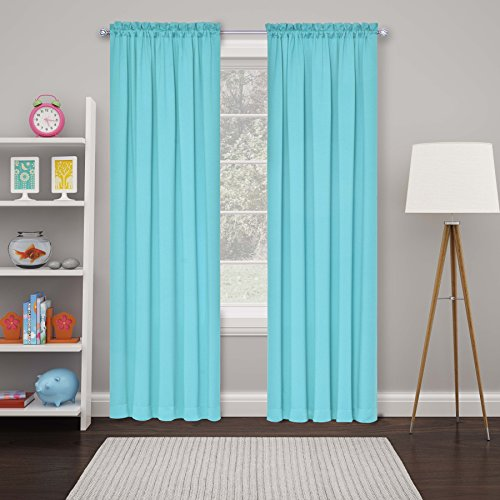 """ECLIPSE 15946052063TUQ Tricia Modern Room Darkening Thermal Rod Pocket Window Curtains for Bedroom, Double Panel, 52"""" x 63"""", Turquoise"""