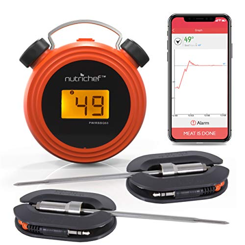 Smart Bluetooth BBQ Grill Thermometer - Digital Display, Stainless Dual Probes Safe...