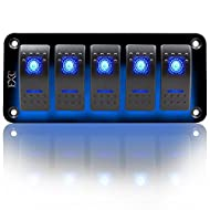 FXC Rocker Switch Aluminum Panel 5 Gang Toggle Switches Dash 5 Pin ON/Off 2 LED Backlit for Boat Car Marine Blue