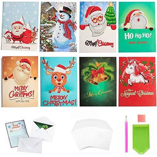 5D Diamond Painting Biglietti Natalizi,Biglietti D'auguri con Pittura Diamante,Biglietti di Buon Natale Assortiti,5D Pittura Diamante Cartolina,Biglietti di Natale Fai da te.